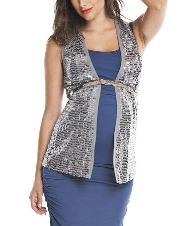 Take a look at this Antique Silver Sequin Collar Maternity Vest by Isabella Oliver on #zulily today!