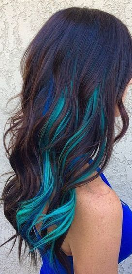 Teal and darker blue highlights = summer mermaid hair? <3