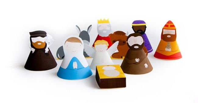 Adorable, free printable nativity set for kids from Marloes de Vries