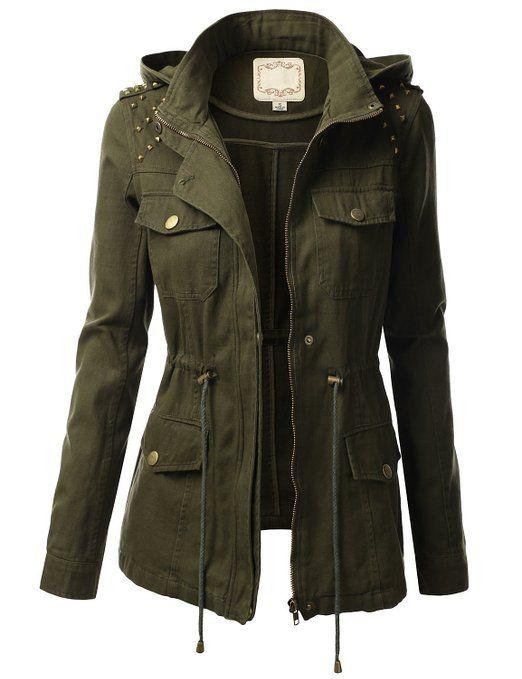 J.TOMSON Womens Trendy Military Cotton Drawstring Jacket