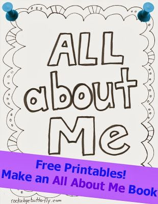 All About Me Printable Book (free; hand-drawn by Rockabye Butterfly)
