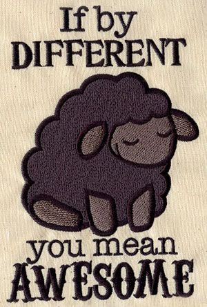 Awesome Black Sheep - Thread List | Urban Threads: Unique and Awesome Embroidery Designs