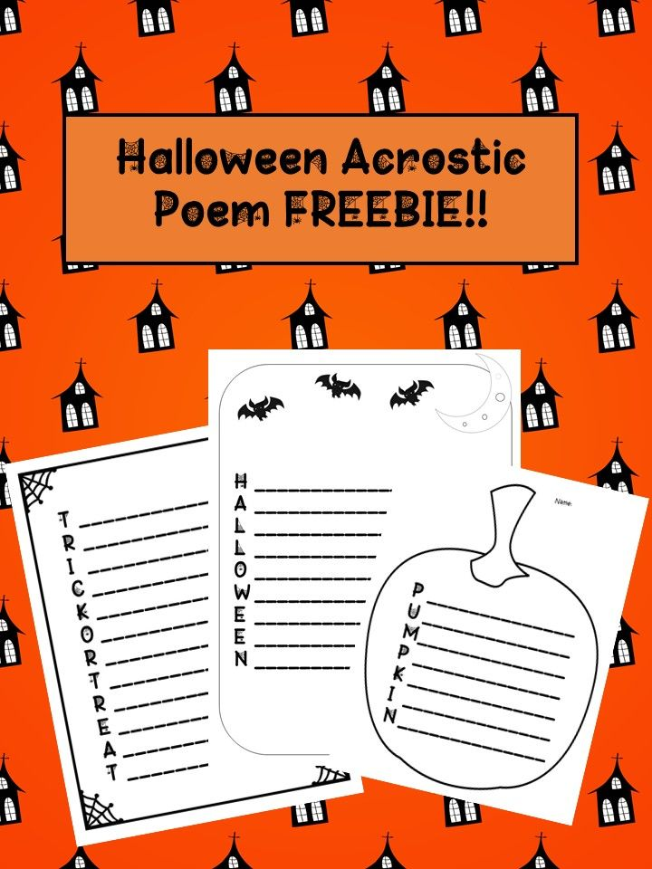 Three acrostic poem freebies! Trick or Treat, Halloween, and Pumpkin.