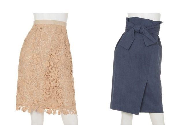 2017春夏 おすすめ!人気アイテム JUSGLITTY/ ジャスグリッティーの爽やかエレガントなレースタイトスカート&美スタイルに整えてくれる巻き風スカートのファッション通販