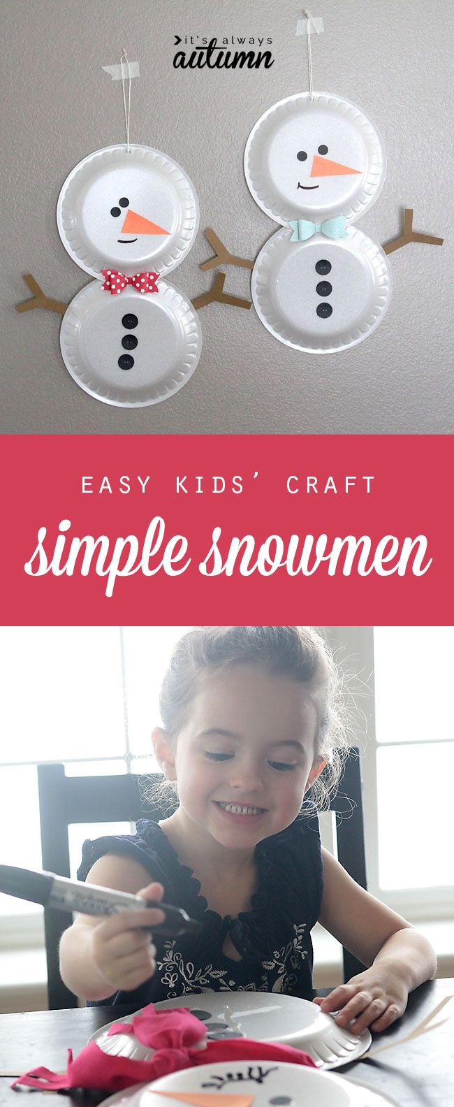 easy holiday kids' craft - foam plate snowmen - looks like fun! #heftyholidays #sp