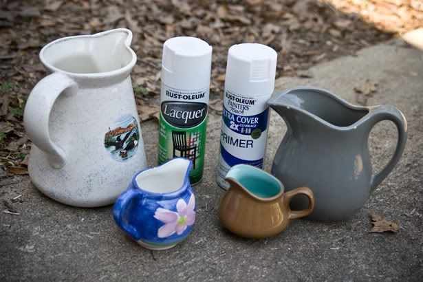 Spray painted pitchers | The Lettered Cottage