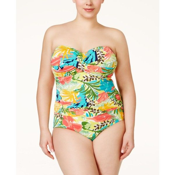 Anne Cole Plus Size Tropical-Print Twist-Front One-Piece Swimsuit ($120) ❤ liked on Polyvore featuring swimwear, one-piece swimsuits, multi, anne cole swimsuit, anne cole swimwear, 1 piece bathing suits, womens plus size bathing suits and plus size beach wear