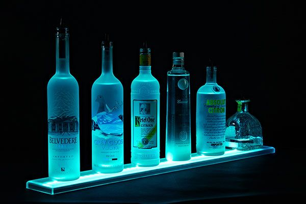 One Step LED Lighted Liquor Bottle Display Shelves