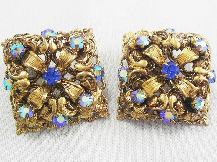 Vintage ROYAL ORNATE Layered Earrings Blue Rhinestone Accents Clip Ons MUST HAVE