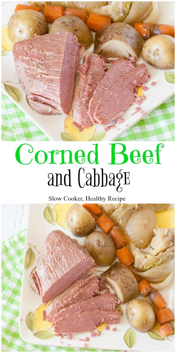 Easy Slow Cooker Corned Beef and Cabbage with potatoes and carrots, too. Healthy and gluten free