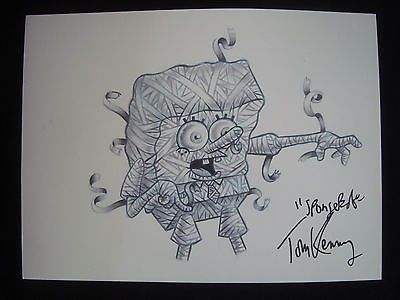 ORIGINAL SPONGE BOB SQUARE PANTS Art Signed Tom Kenny Mummy