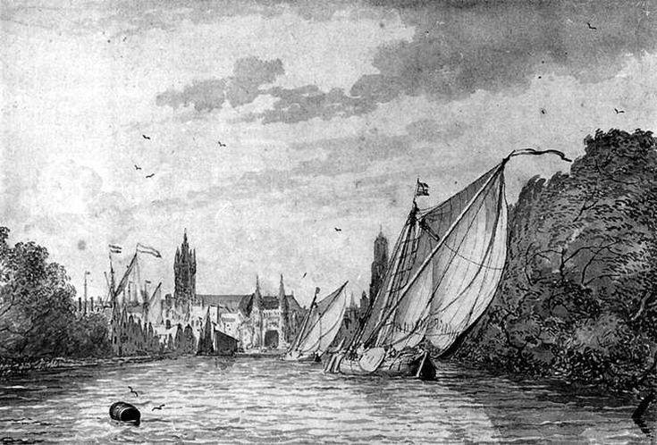 Ludolf Bakhuysen - Gezicht op Delft vanaf de Schie
