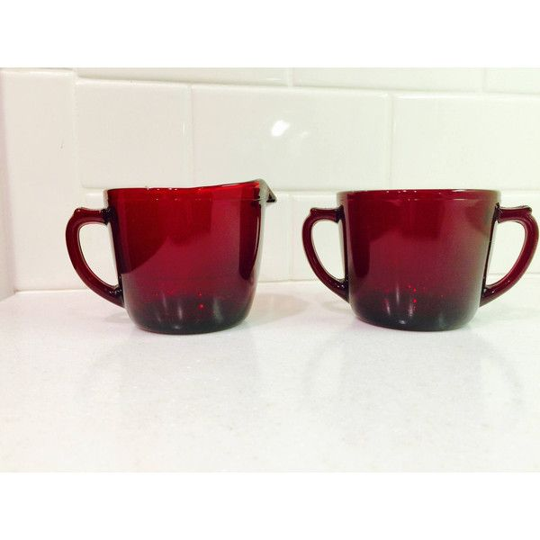 Vintage Ruby Red Sugar Creamer Glassware Midcentury Cream and Sugar... ($16) ❤ liked on Polyvore featuring home, kitchen & dining and serveware