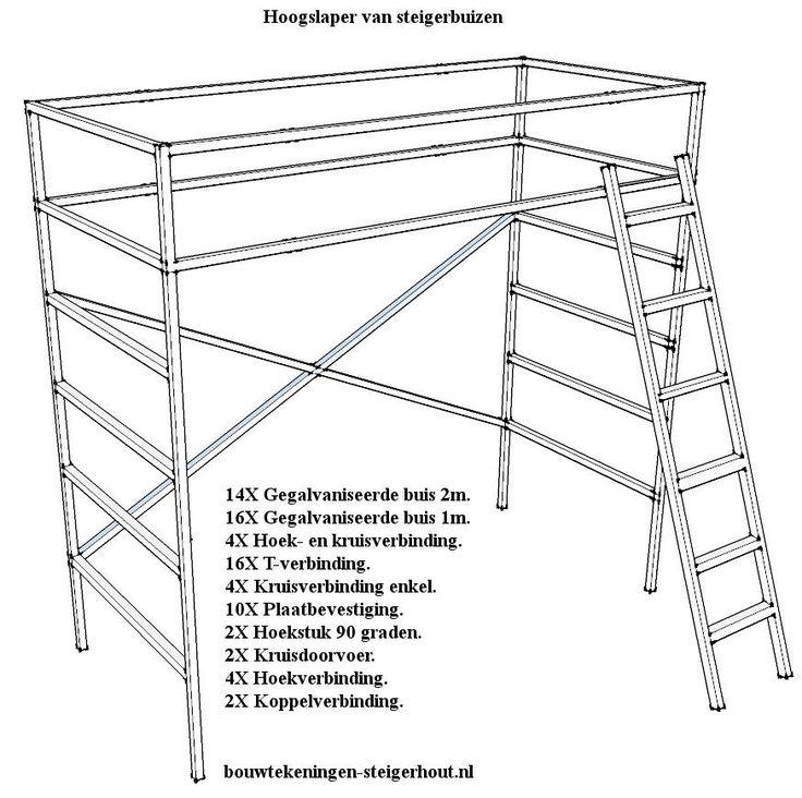 IKEA TROMSÖ - Steigerbuis hoogslaper bed om zelf te maken.