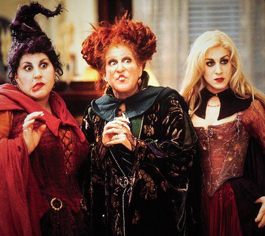"Mary (Kathy Najimy), Winifred (Bette Midler) & Sarah (Sarah Jessica Parker) in ""Hocus Pocus"""