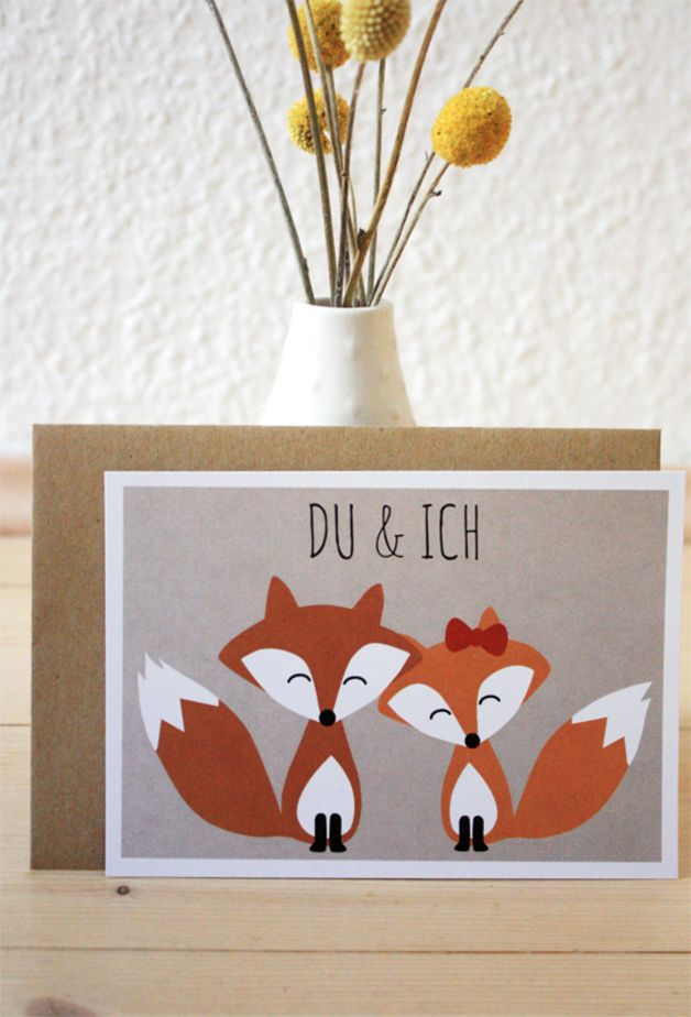 "Postkarte """"Fuchs - Du & Ich"""