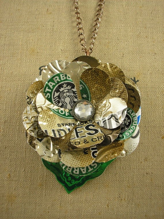TRENDY 30 inch Pendant Necklace  Starbucks Flower and by jillmccp, $14.95