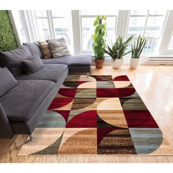 Geometric Abstract Patchwork Modern Shapes Ivory Beige Red Blue And Brown Area Rug 53 X 73 By Well Woven