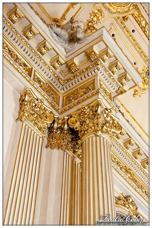 """""Teatro Colon"""" detalles de sus columnas, ciudad Autonoma de Buenos Aires, Argentina"