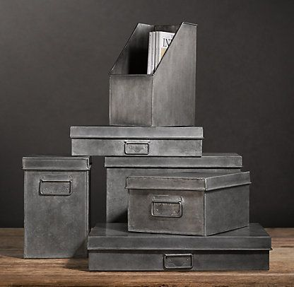 Spray paint cardboard w metallic paint - Office & Storage | Restoration Hardware cool idea