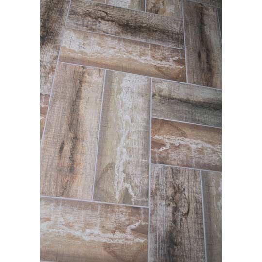 £12.08 metre square Movila wood is a wood effect, inkjet, ceramic red clay glazed floor or wall tile by Azulejos Benedresa tiles. This tile is a anti-slip tile with a matt textured finish. Great for shower areas and wet rooms.