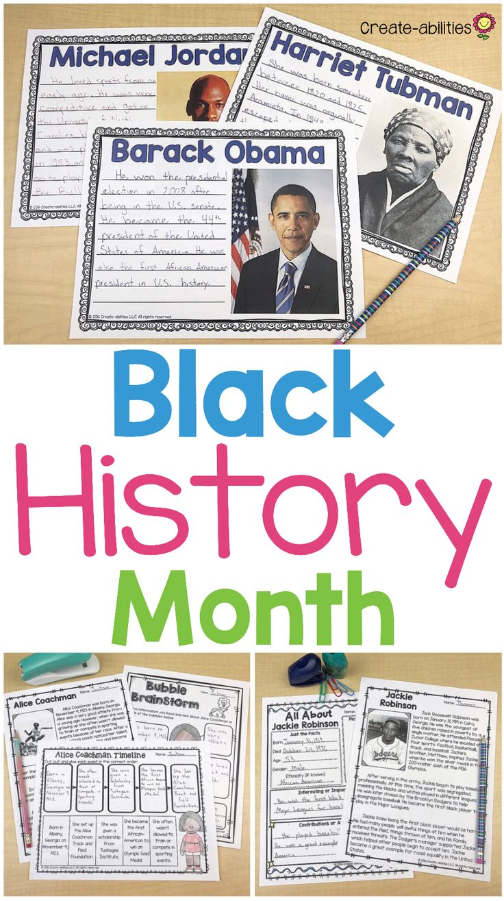 Black History Month - This is the perfect resource to celebrate 23 important African Americans during Black History Month in February. Your 3rd, 4th, 5th, and 6th grade students will get reading comprehension passages, quotes, hands-on timeline activities, brainstorming pages, and biographies pages for each person. People include Barack Obama, George Washington Carber, Ruby Bridges, Martin Luther King Jr, Michael Jordan, and MANY others. {third, fourth, fifth, sixth graders - upper…