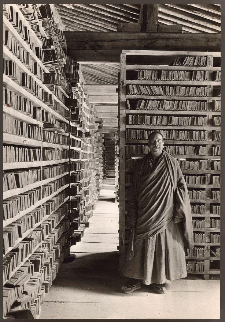 five hundred year old printing blocks | Sacred Tandjur, Choni Lamasery, Kansu, Tibet | 1927 | photo by explorer and linguist Joseph Rock