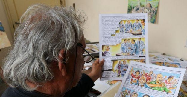 """Karikatürist Erbil Işın tarafından """"15 Temmuz Darbe Girişimi"""" çizgi roman oluyor"""