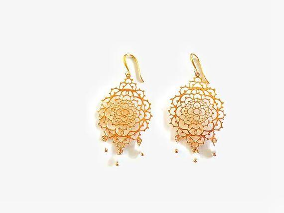 Gold Moroccan Earrings With Tiny Coral Beads Filigree #BohemianSummerTales #chandelierearrings #filigreegoldearrings #moroccanearrings #statementgoldearrings #bohodangleearrings