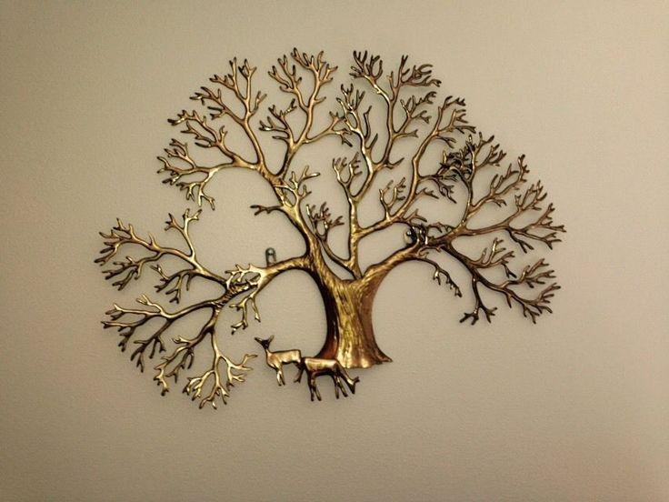 Large Bijan Tree Brass Wall Sculpture C Jere Style Mid