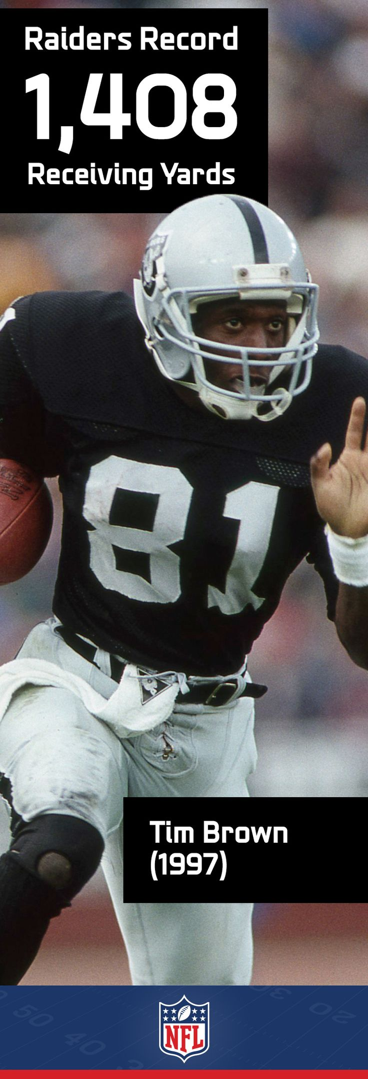 Tim Brown spent 16 years with the Raiders earning him the nickname Mr. Raider. During that span he was selected to 9 Pro-Bowls.