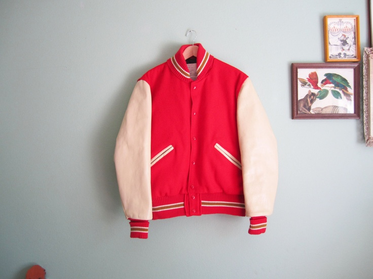 Vintage Red and Ivory Wool Baseball Jacket iuWUDP
