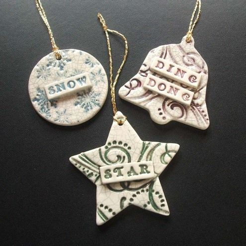 "Folksy :: Buy ""Set of 3 vintage style ceramic Xmas decorations"" 