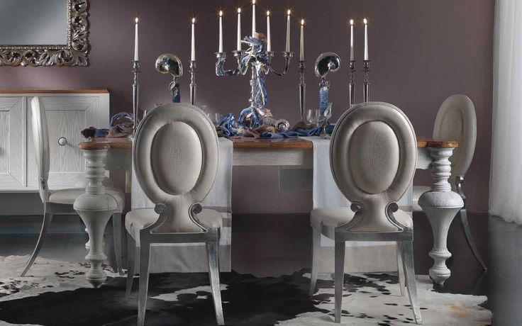 Ekskluzywny stylizowany włoski stół do salonu lub jadalni, Stół drewniany, orzech i dąb wykończony w 2 kolorach. Wielkość stołu pod wymiar klienta. Dostępne meble uzupełniające jak krzesła i komody.