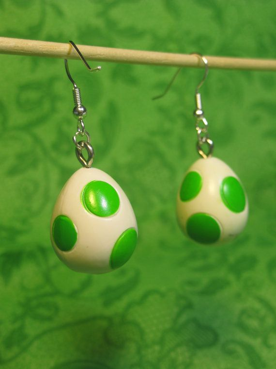 Super Mario Earrings  Yoshi Egg by Jirges on Etsy, $5.00