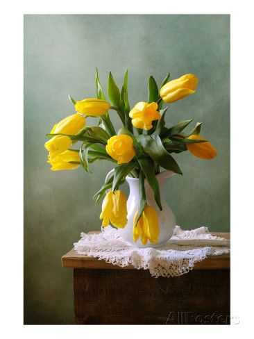 Yellow Tulips in a Vase Art Print