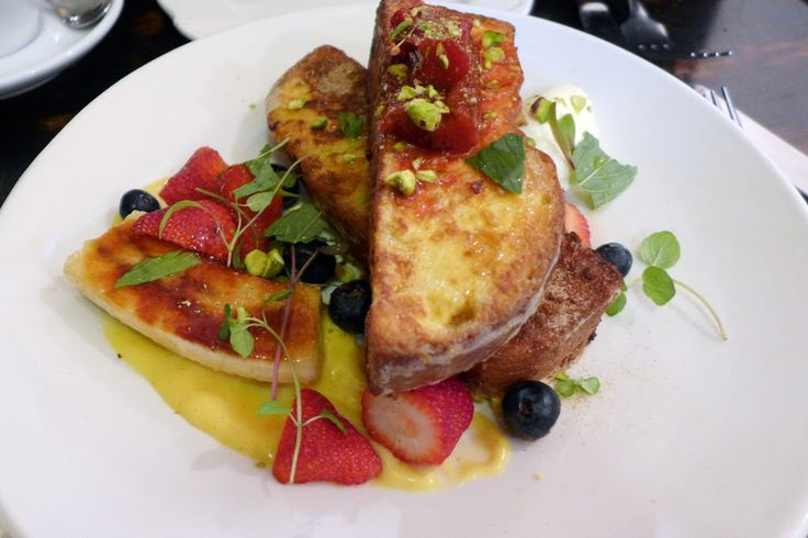 FRENCH TOAST $15 French toast with poached rhubarb, brulee banana, mascarpone yoghurt, cinnamon and spiced honey syrup