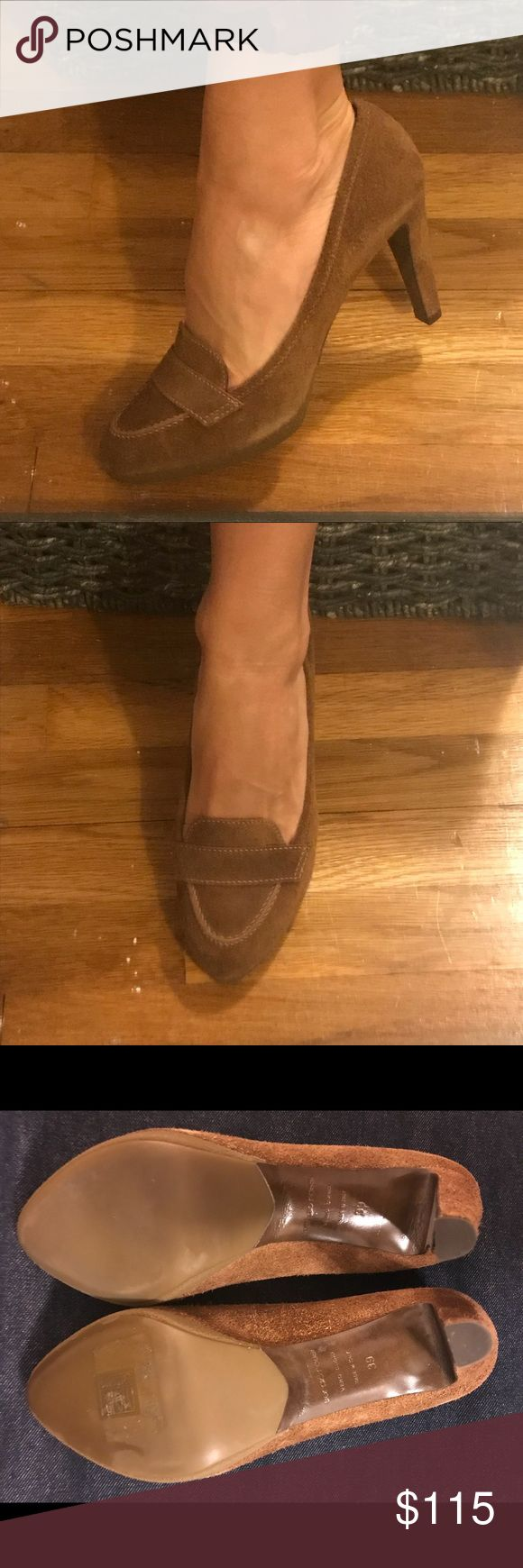 Sergio Rossi Brown Suede Loafer Style Heel.Size 39 Excellent condition. Practically new if you count my trying them on and realizing over and over that they are just a bit too big.  Super soft and comfy brown suede. They really go with so much to complete a classic look. Sergio Rossi Shoes Heels