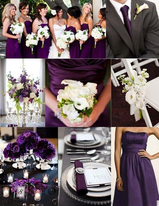 Foodie » Purple wedding Inspiration – purple bridesmaids dress and centerpieces, white bouquet, grey tux