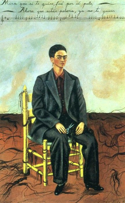 1940 Self-Portrait with Cropped Hair. Фрида Кало