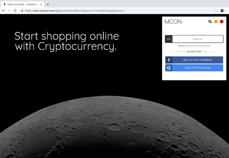 Moon Shop Online with Cryptocurrency Online signs