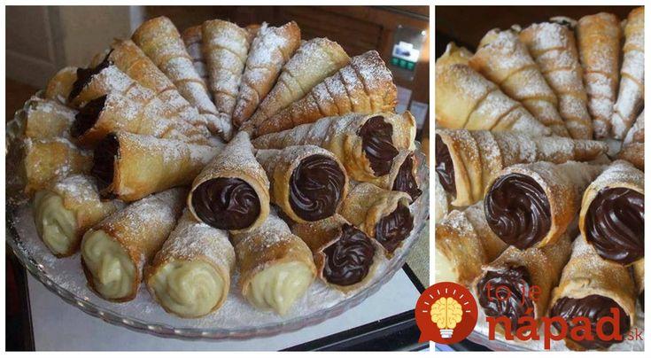 Krásny nápad, napríklad aj na veľkonočný stôl. tento recept môžete robiť ako klasické trubičky, ale ešte krajšie vyzerajú ako kornútiky (kužeľovitú formu si môžete vyrobiť aj z alobalu. Náplň robím čierno-bielu (vanilkovú a čokoládovú).