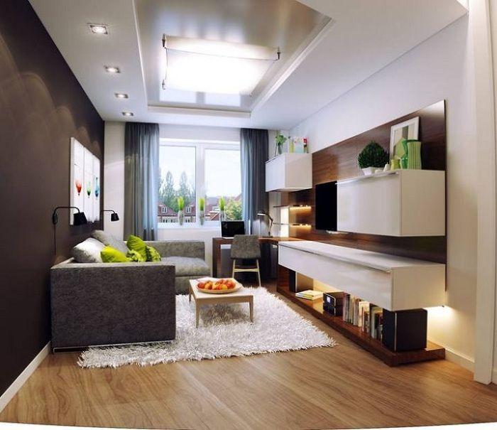 Оформление гостиной с контрастными стенами позволит расширить пространство.