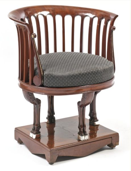 A Neoclassical Mahogany Armchair Probably Vienna, Circa 1810, Height 29 1/2  In