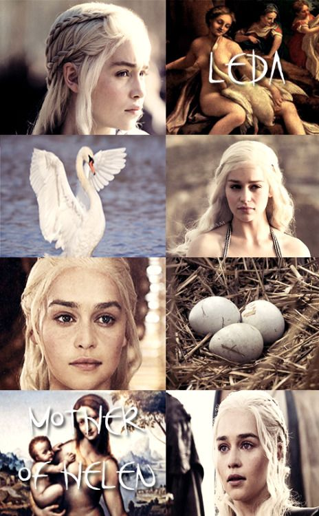 GREEK MYTHOLOGY MEME ® LOVERS OF ZEUS 9/9 Emilia Clarke as LEDA Leda was wife of Tyndareus of Sparta. Leda was admired by Zeus, who in the guise of a swan fell into her arms for protection from a pursuing eagle. Their consummation, on the same night Leda lay with her husband, resulted in two eggs from which hatched Helen, Clytemnestra, Castor and Pollux. Which children are of Tyndareus and which are of Zeus is not consistent among accounts. It is always stated that Helen is the daughter of…