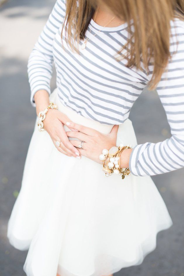 White. Blue. Stripes. LOVE! // Find more modest fashion inspiration via @modestonpurpose and on the blog at ModestOnPurpose.blogspot.com!!