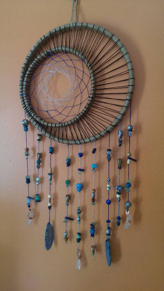 Cosmic crystal catcher- Crescent moon. Gypsy decor. Moon goddess dream catcher…