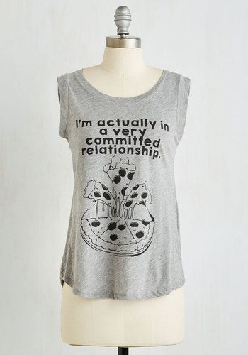 Pizza My Heart Top. Flaunt your undying commitment to carbs with this screen printed top! #grey #modcloth