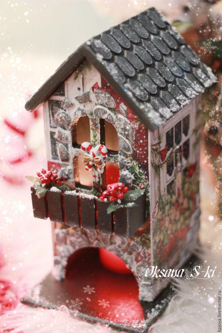 Купить Новогодний чайный домик - комбинированный, домик для чая, рождественский подарок, декор для интерьера