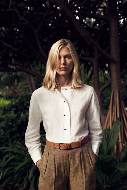 hermes:VESTIAIRE D'ETE 2014 Men's trousers in linen and wool, shirt in linen, belt in natural bridle leather. www.hermes.com